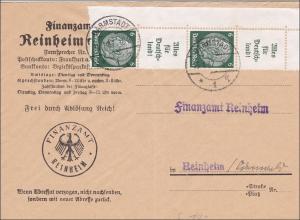 III. Reich: Brief vom Finanzamt Reinheim 1937