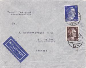 III. Reich: Luftpost Brief von Berlin nach St. Gallen/Schweiz 1941 - Zensur