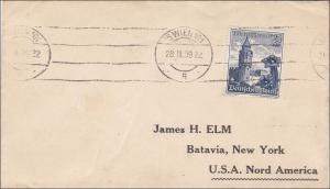 III. Reich: Brief von Wien nach USA 1939, MiNr. 682 EF