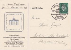 Ganzsache  Briefmarken Ausstellung Berlin 1930, Brandenburger Tor geprägt