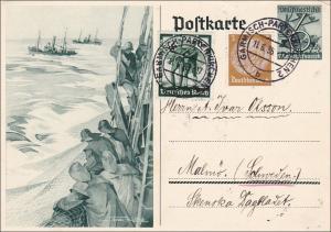 Ganzsache:  1938 von Garmisch-Partenkirchen nach Schweden