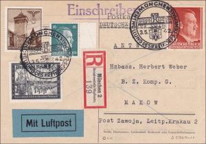 Generalgouvernement (GG): Antwortkarte mit MiF R-Luftpost von München nach Makow