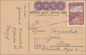 Serbien: Ganzsache, zufrankiert, Zensiert 20.4.1943