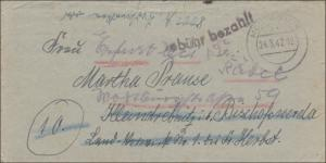 Gebühr bezahlt: Montabaur 1947 nach Bischofswerda mit Briefinhalt