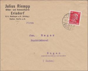 Bahnpost: Brief aus Erisdorf/Riedlingen mit Bahnpost Stempel 1927