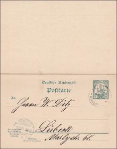 Marshall Inseln: Ganzsache mit Antwort von Jaluit 1901 nach Lübeck
