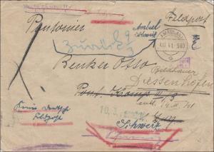 Feldpost II. Weltkrieg:  Feldpost 1941 Ambulant/Schweiz, Zensur