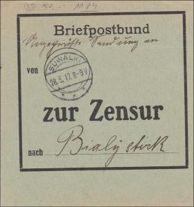Feldpost I. Weltkrieg: Briefpostbund Suwalki 1917 nach Bialystock - zur ZENSUR