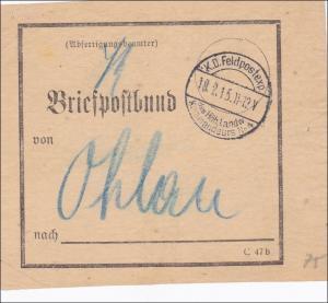 Feldpost I. Weltkrieg: Briefpostbund Feldpost  nach Ohlau 1915