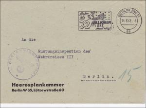 Feldpost II. Weltkrieg:  Brief Berlin Heeresplankammer 1943