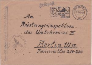 Feldpost II. Weltkrieg:  Feldpost Abnahmeinspitzient Schöneberg an Rüstungsinspektion 1943