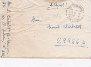 Feldpost II. WK:Brief März 1945 Westerwanna/Niederelbe - Expertise ArGe Feldpost