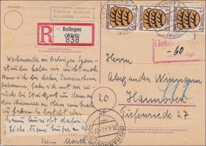 Französische Zone: R-Postkarte Balingen 1947 - Gebühr bezahlt - nach Hannover