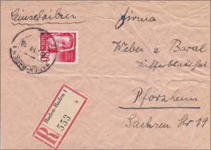 Französische Zone: Baden-Baden nach Pforzheim 1949 - Vorderseite