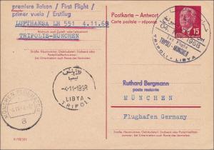 DDR: 1968: Antwort Ganzsache aus Libyen nach München