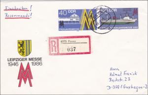 DDR: 1986 - 40 Jahre Leipziger Messe, Einschreiben von Pausa nach Guxhagen