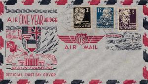 US Air Mail - Berlin-Frankfurt -SBZ One year air bridge 23.6.1949: Berlin