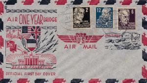 US Air Mail - Berlin-Frankfurt -SBZ One year air bridge 23.6.1949: Berlin