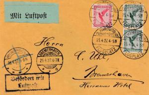 Luftpost Hamburg Flugplatz-Bremerhaven 1927 Luftpost