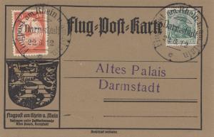 Postkarte Darmstadt Flugpost am Rhein/Main 1912