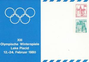 XIII. Olympische Winterspiele Lake Placid 12.-24.2.1980 - Ganzsache