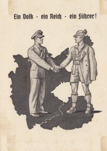 Anschluss 1938: Propagandakarte: Ein Volk, ein Reich, ein Fü