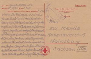 Weihnachtskarte zu Ostern 1947-Rotes Kreuz nach Hainsberg