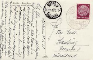 Ansichtskarte Lissabon 1938 -Deutsche Schiffpost Südamerika