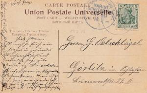 1913: Ansichtskarte Tiberias: Marine Schiffpost Nr. 69 nach Görlitz