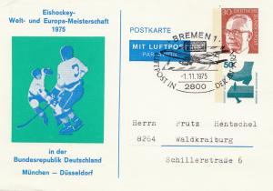 1975: Eishockey Welt-und Europameisterschaft Bremen-Ganzsache