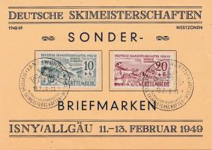 1949: Deutsche Skimeisterschaften- Sonderbriefmarken-Isny/Allgäu-Württemberg