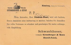 P17, Ganzsache Bayern von Nürnberg - Schutz-Schwan-Marke Schanhäuser-Bleistifte