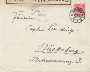 Zensur: 1924: Brief von Duisburg nach Belgien: Belgische Zensur