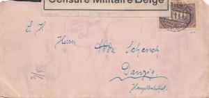 Zensur: 1923: Deutsches Reich nach Danzig - Censure Militaire Belge