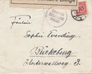 Zensur: 1924: Brief von Duisburg nach Rückeburg, Militär Zensur Belge