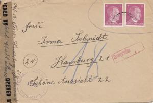 Zensur: 1945 von Winterberg/Böhmerwald nach Hamburg: US Zensur, Nachgebühr