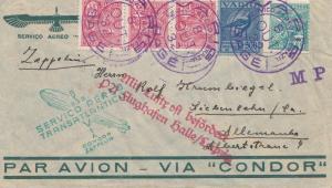Zeppelin: 1932: Brief Brasilien nach Deutschland mit Luftschiff Halle/Leipzig