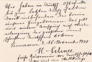 1931: Notiz: Pirmasens: H. Schnee, ex. Gouverneur