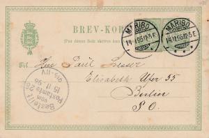 Dänemark: 1896 Ganzsache von Maribo nach Berlin