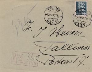 Estland: 1938: Brief von Tallinn- Einschreiben
