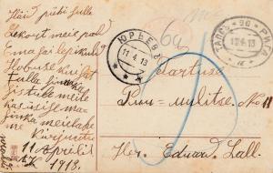 Estland: 1913 Ansichtskarte mit Knick aber ohne Marken-Nachgebühr