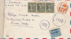 Fiume: 1941: USA nach Fiume - Luftpost - Zensur