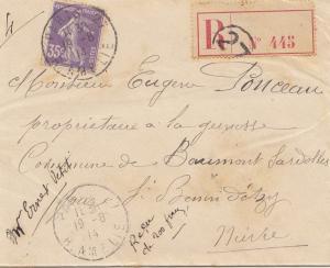 Frankreich: 1914: Einschreiben Paris nach St. Benin