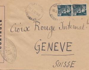 Frankreich: 1945: Uzerche nach Genf-Rotes Kreuz - Zensur