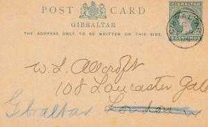 Gibraltar: Ganzsache nach London - zurück 1895