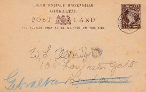 Gibraltar: 1895: Ganzsache nach London - zurück