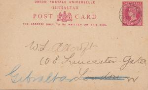 Gibraltar: Ganzsache 1895 nach London - zurück