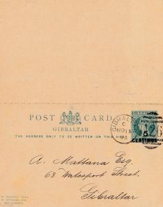 Gibraltar: 1893: Ganzsache mit Antwortkarte P12