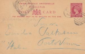 Gibraltar:  1899: Ganzsache nach Italien