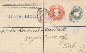 England: 1904: Ganzsache Einschreiben nach Berlin